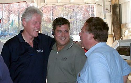 Al Favro (center) and Ron Papa (right) of NFA meeting with former President Bill Clinton in the City of Bayou La Batre, Alabama - an NFA client from Hurricane Katrina
